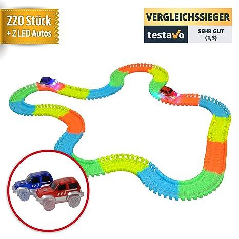 YourMate Giocattolo con Due macchinine da Corsa veloci con LED e 220 Pezzi  di Pista Colorati | La Pista da Corsa stimola la creatività dei Bambini –  ...