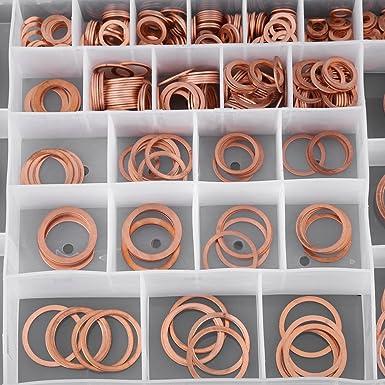 Bouchon De Vidange Rondelles 568pcs 30 Tailles Rondelles De Cuivre Set DAnneaux Plats Kit De Fixation Accessoires Avec Bo/îte En Plastique