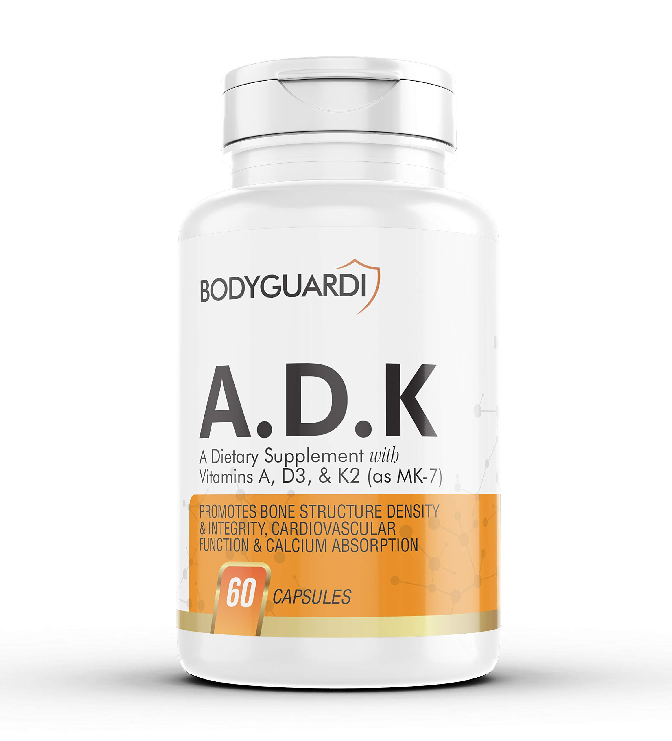 Bodyguardi ADK, K2 and D3 Vitamin Supplement: A-D-K with Vitamins A, D3, K2 as MK7 for Enhanced Calcium Absorption - High Potency A.D.K for Heart Health and Bones, Teeth, Skin - 60 Vegetarian Capsules by Bodyguardi