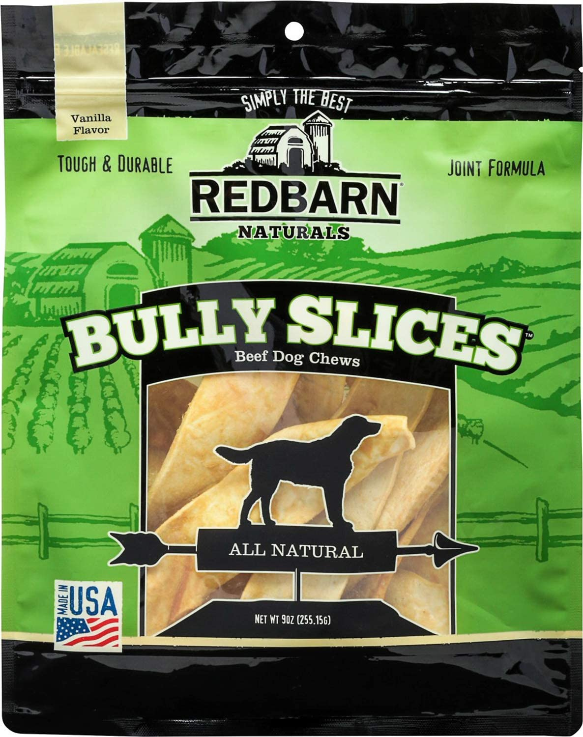 Red Barn Naturals Bully Slices Beef Dog Chews, Vanilla, 9 Ounce, 6 Pack