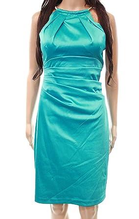 48b91eff3c8b Eliza J Women's Stretch Satin Sleeveless Halter Sheath Dress Jade 6