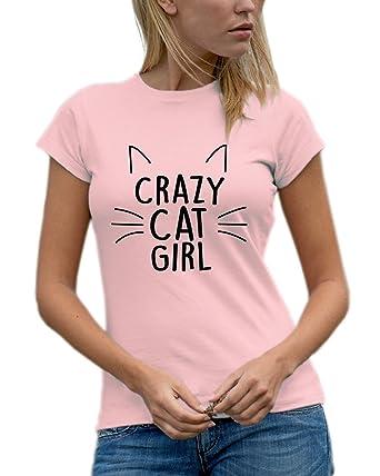312ba612 Women's 'Crazy Cat Girl' Designer T-Shirt - Available in Various Colours (