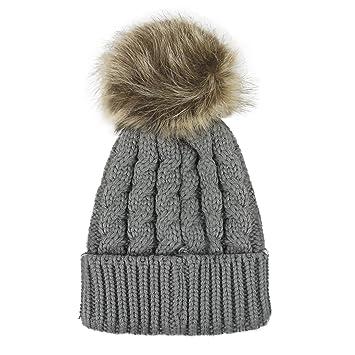 43cd286e3f7 Afinder Toddler Baby Warm Soft Knitted Hat Beanie Head Warmer Fluffy Pompom  Winter Warm Soft Crochet Beanie Skull Cap for Girls Boys