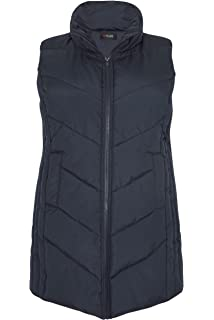 9a20484f165b Yours Clothing Women s Plus Size Padded Chevron Gilet with Foldaway Hood