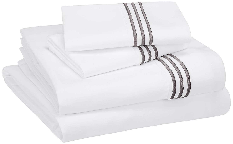 AmazonBasics Embroidered Hotel Stitch Sheet Set - Premium, Soft, Easy-Wash Microfiber - Full, Embroidered Dark Grey
