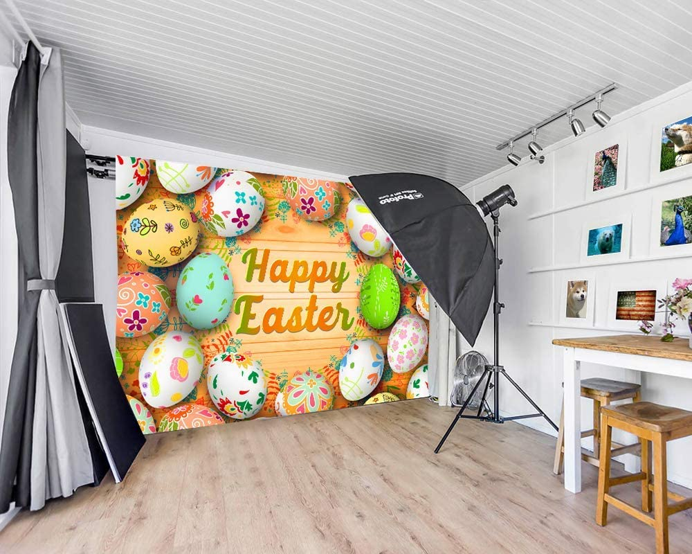 6x4ft Vinyl Easter Backdrop Colorful Eggs Retro Wooden Wall Grass Background for Photography Kids Newborn Portrait Festival Party Banner Photo Booth Studio Props LYLS1325 for Party Decoration Birthday