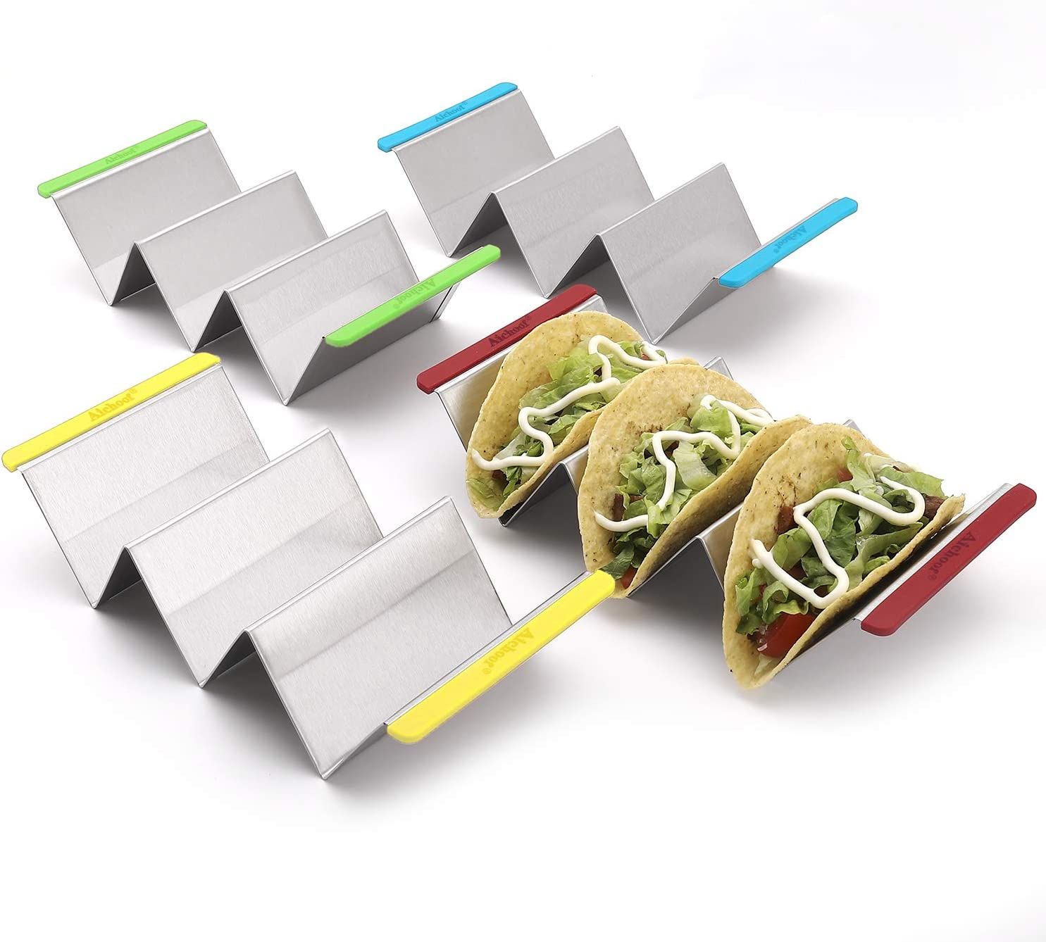 4 Pack Stainless Steel Metal Taco Holder Stands w// Handles by MIDELO KITCHEN