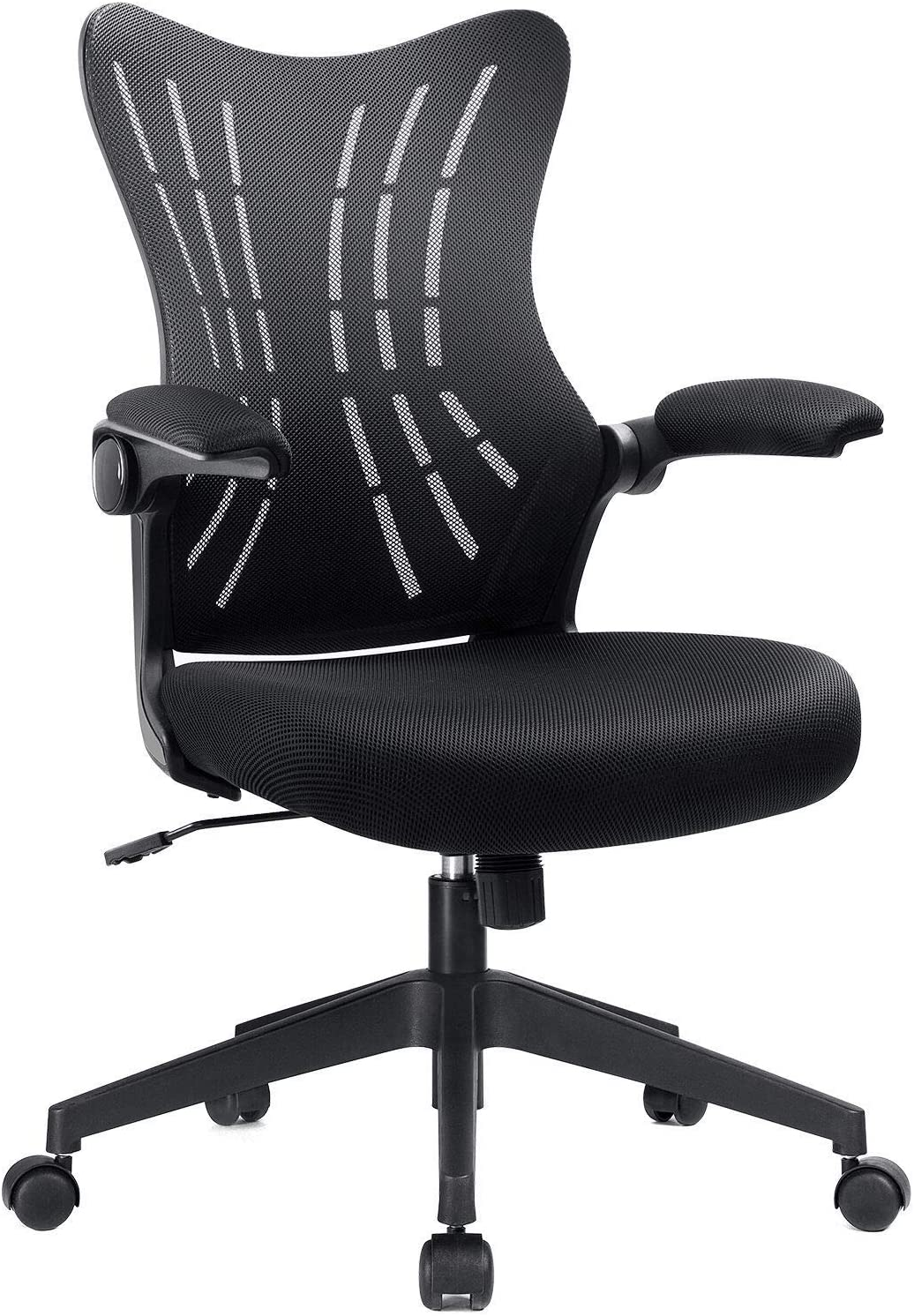 Furmax Office Desk Chair with Flip Arms,Mid Back Mesh Computer Chair Swivel Task Chair with Ergonomic with Lumbar Support (Black)