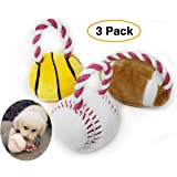 Pro Image Dog Sports Balls with a Squeaker   Soft Plush Toy, Puppy Play Toy (3 Pack) Basketball, Football & Baseball w/Attached Rope Pet tug a war