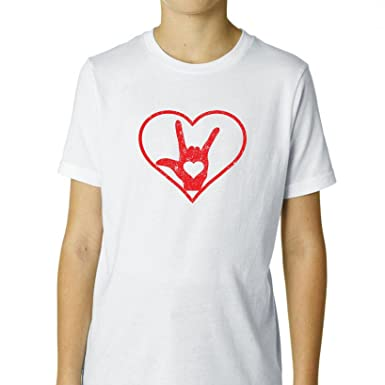 Amazoncom I Love You Sign Language Red Heart Outline Asl