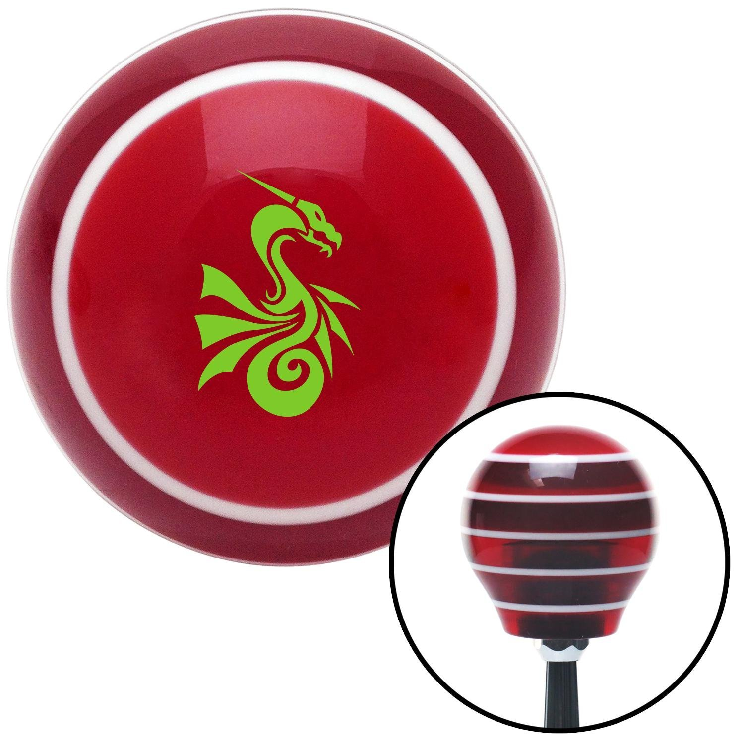 American Shifter 114030 Red Stripe Shift Knob with M16 x 1.5 Insert Green Dragon Serpent