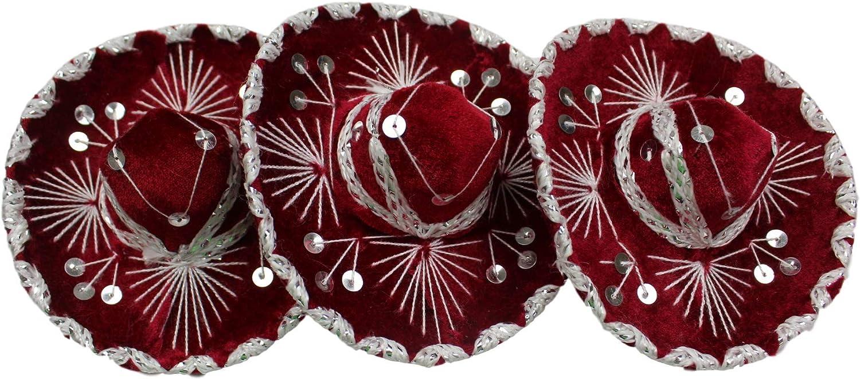 """Trade MX 3 Pack 6"""" Mexican Decorative Mini Mariachi Sombrero Charro Hat (Choose Color) (Red/Silver)"""