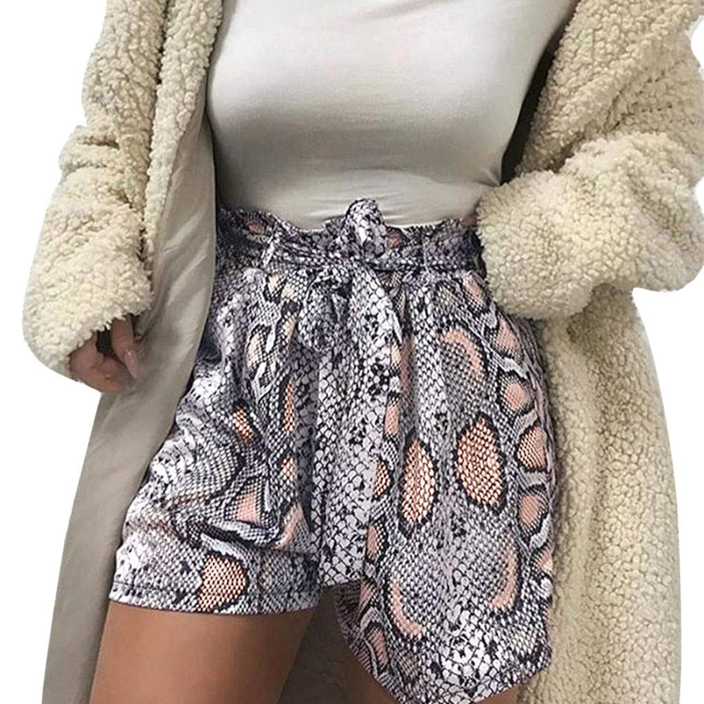 JESPER Fashion Women High Waist Snake Print Bandage Sport Shorts Pants Casual Leggings
