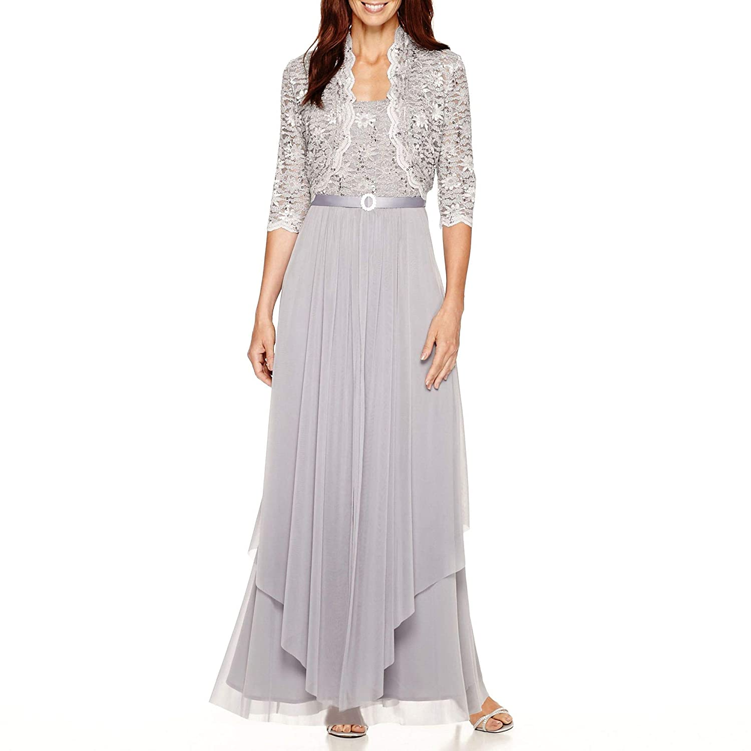 a4360a9f4d R M Richards Womens Sequin Lace Long Jacket Dress - Mother Of The Bride  Dress at Amazon Women s Clothing store