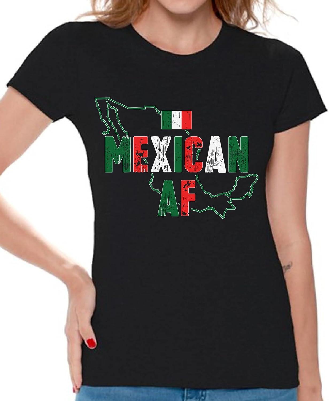 Amazon.com: Awkward estilos mexicano AF camisa para mujer ...
