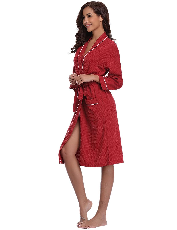 Aibrou Unisex Waffle Dressing Gown Cotton Lightweight Bath Robe for Spa Hotel Sleepwear