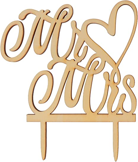 Engagement Party or Wedding Decoration Wooden Heart with Initials Unpainted