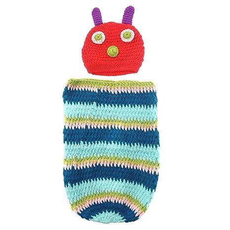 tankerstreet Cute caterpillar diseño de animal para bebé recién nacido hecho a mano de ganchillo Beanie