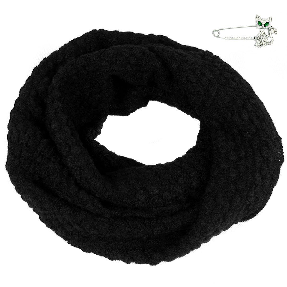 kilofly Knit Neck Warmer Infinity Loop Scarf, Black, with Rhinestone Cat Brooch Pin