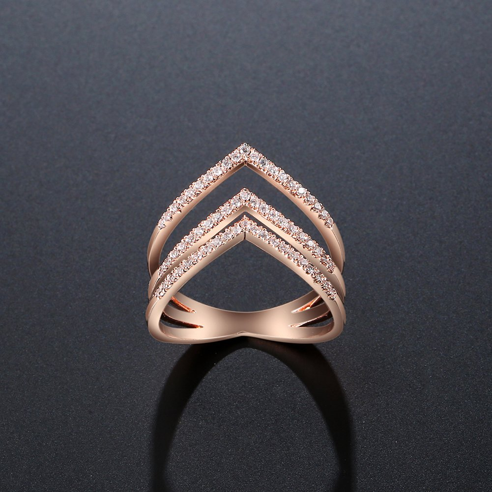 8eebc9f4e Amazon.com: JUST N1 Women 18K Rose Gold Plated Triple V Shaped Mid Finger  Rings Layer Ring Christmas: Jewelry