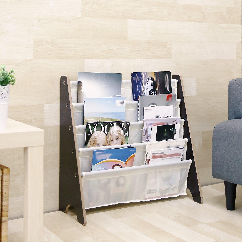 HOMFA Kids Book Rack Storage Sling Bookshelf Toy Display For Children Espresso White