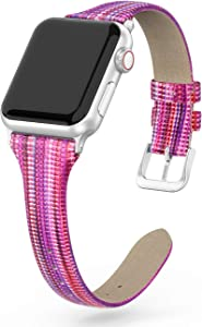 SWEES Leather Band Compatible for iWatch 38mm 40mm, Slim Thin Dressy Elegant Genuine Leather Strap Compatible with iWatch Series 6 5 4 3 2 1 SE Sport Edition Women, Purple