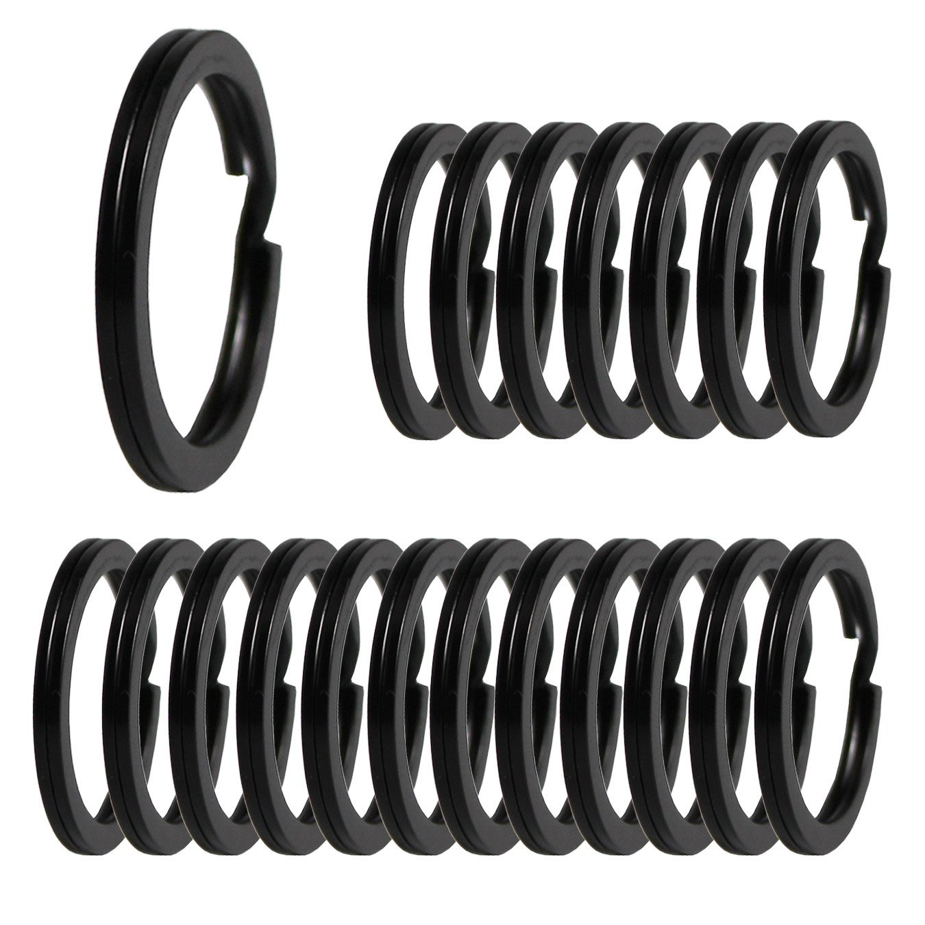 Schwarz UOOOM 20Stk Metall Schl/üsselring Split Ringe /Ø 30mm