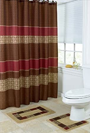 Wonderful 15 Piece Bath Set: 2 Taupe Brown Burgundy Bathroom Mats, 1 Matching Shower  Curtain