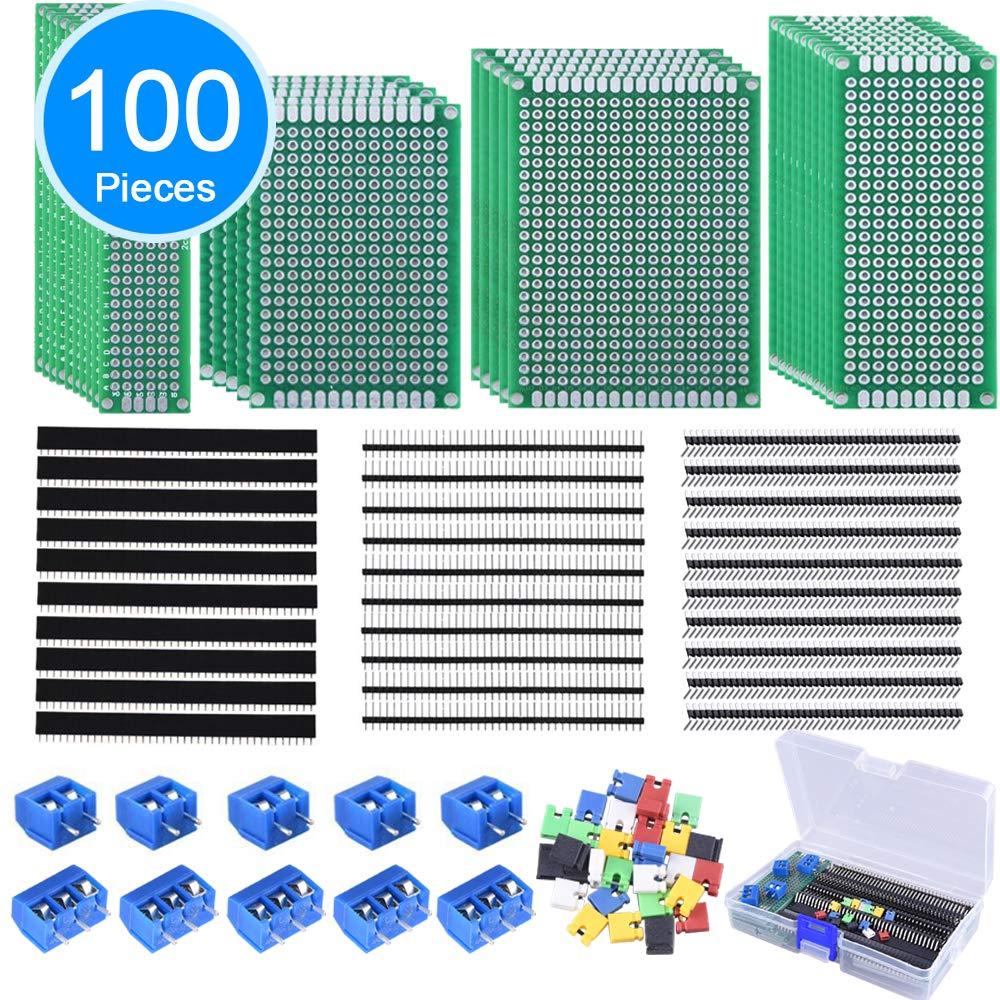 AUSTOR 100 Pcs PCB Board Kit Including 30 Pcs PCB Boards 30 Pcs 40 Pin 2.54mm Header Connector(Bonus: 10 Pcs 2P&3P Terminal Blocks and 30 Pcs Caps) by AUSTOR