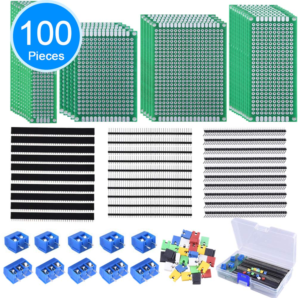 AUSTOR 100 Pcs PCB Board Kit Including 30 Pcs Double Sided Prototype Boards and 30 Pcs 40 Pin 2.54mm Male and Female Header Connector(Bonus: 10 Pcs 2P&3P Screw Terminal Blocks and 30 Pcs Jumper Caps)