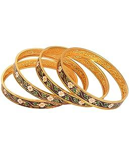 Handicraft Kottage Gold Metal Bangle Set for Women - Set of 4 (HK-ABGM-3205)