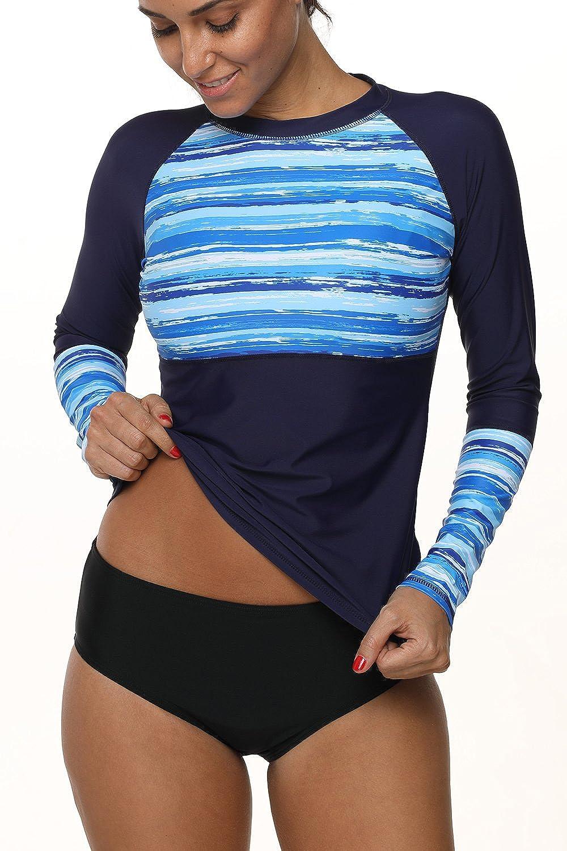 c7e8329e7ed Sociala Women s Printed Long Sleeve Rash Guard Swim Shirt UV Rashguard  Swimsuit at Amazon Women s Clothing store
