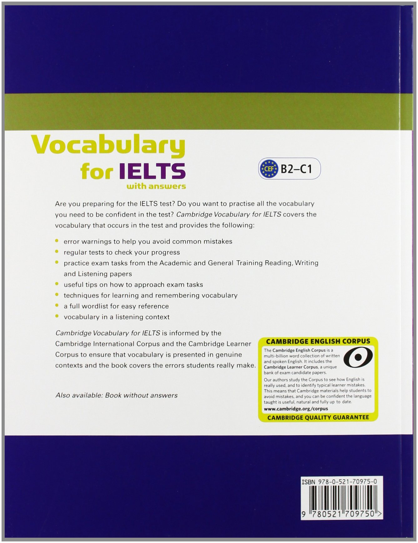 Cambridge Vocabulary for IELTS Book with Answers and Audio