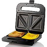 Ovente GPS401B Sandwich Maker Non Stick Electric Grill, 750W, Black, 2-Slice,