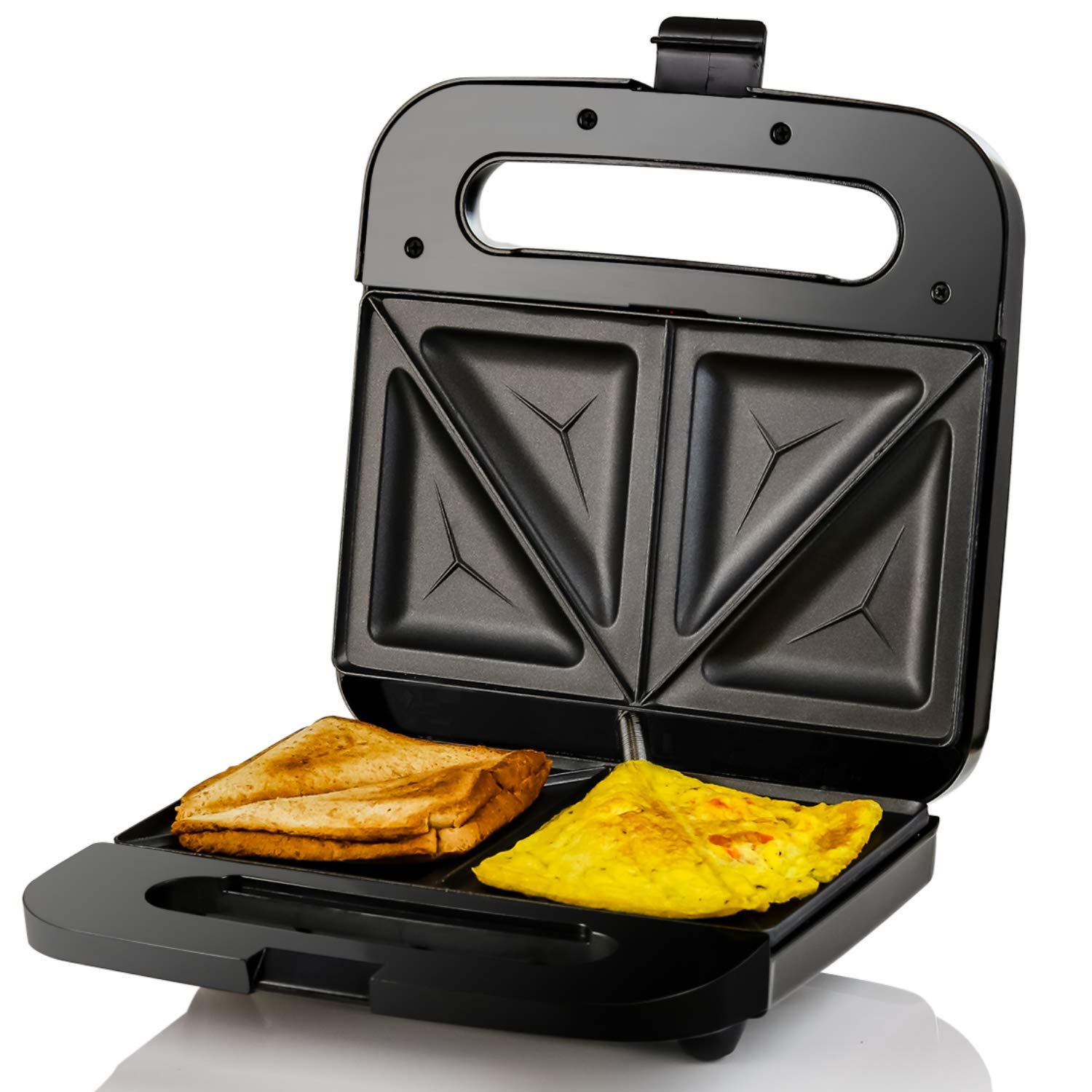 Ovente GPS401B Sandwich Maker Non Stick Electric Grill, 750W, Black, 2-Slice by Ovente
