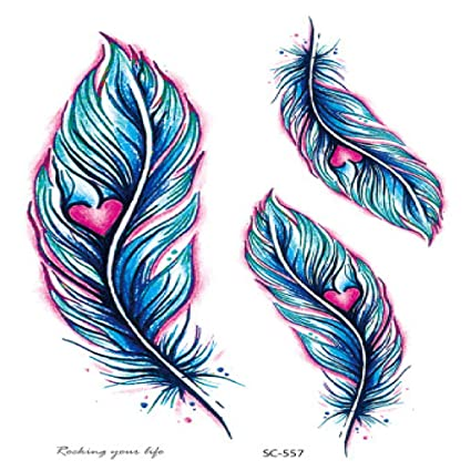 Etiqueta de tatuaje realista a prueba de agua color pluma diente ...