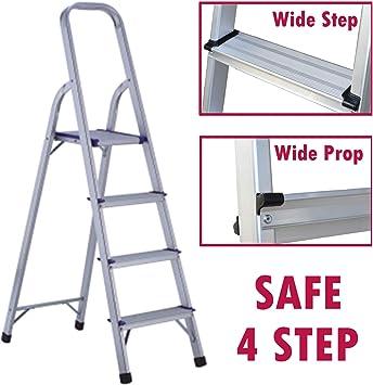 Escalera de aluminio con 3 escalones, pedal amplio, soporte de seguridad, resistente, capacidad de carga de 150 kg: Amazon.es: Bricolaje y herramientas