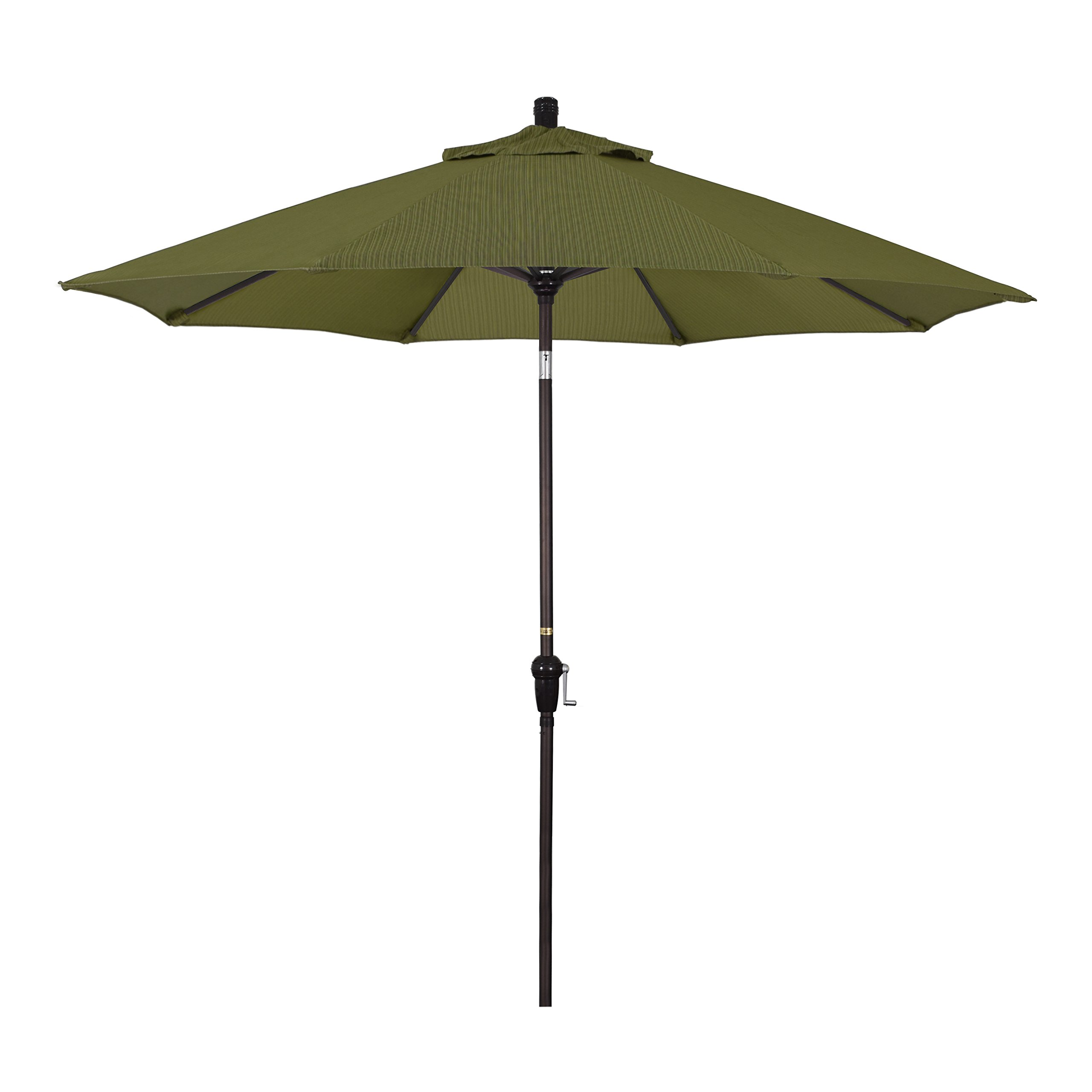 California Umbrella 9' Round Aluminum Market Umbrella, Crank Lift, Auto Tilt, Bronze Pole, Fern
