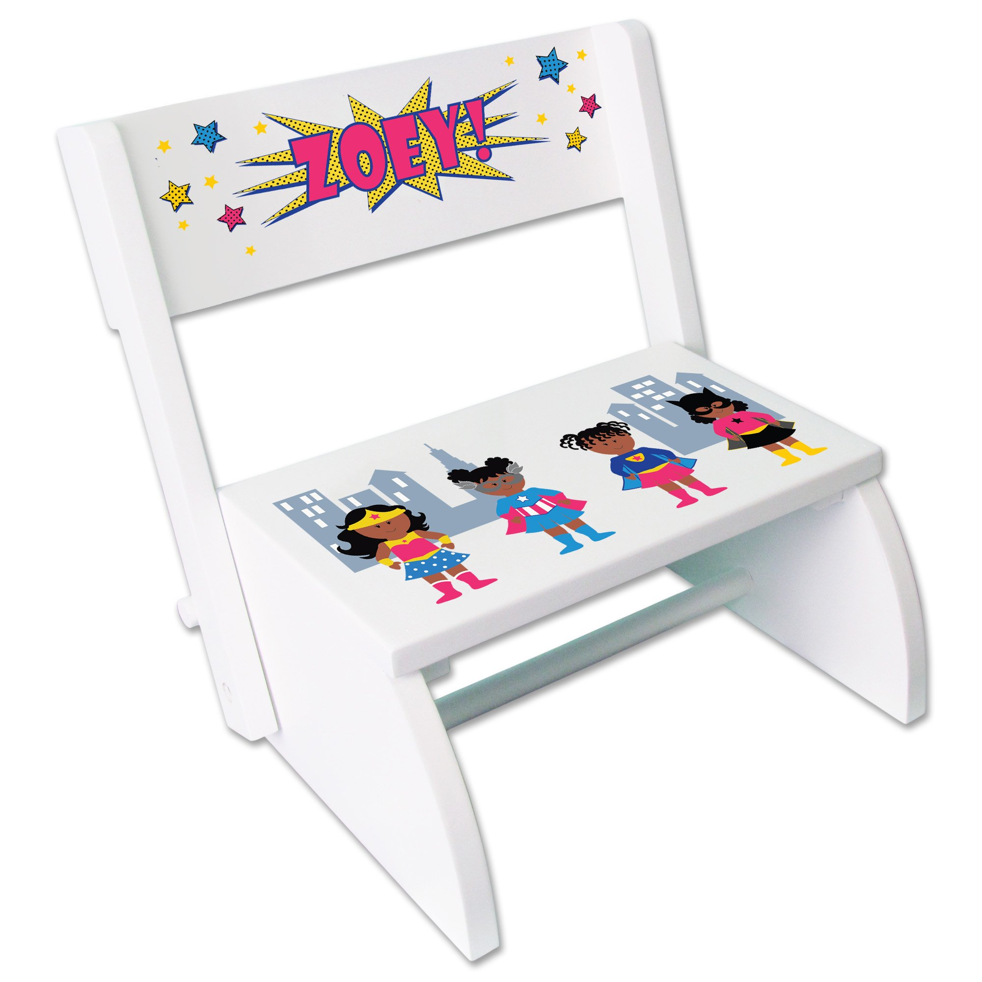 Personalized Childrens White Folding and Flip Stool Super Hero Girl African American
