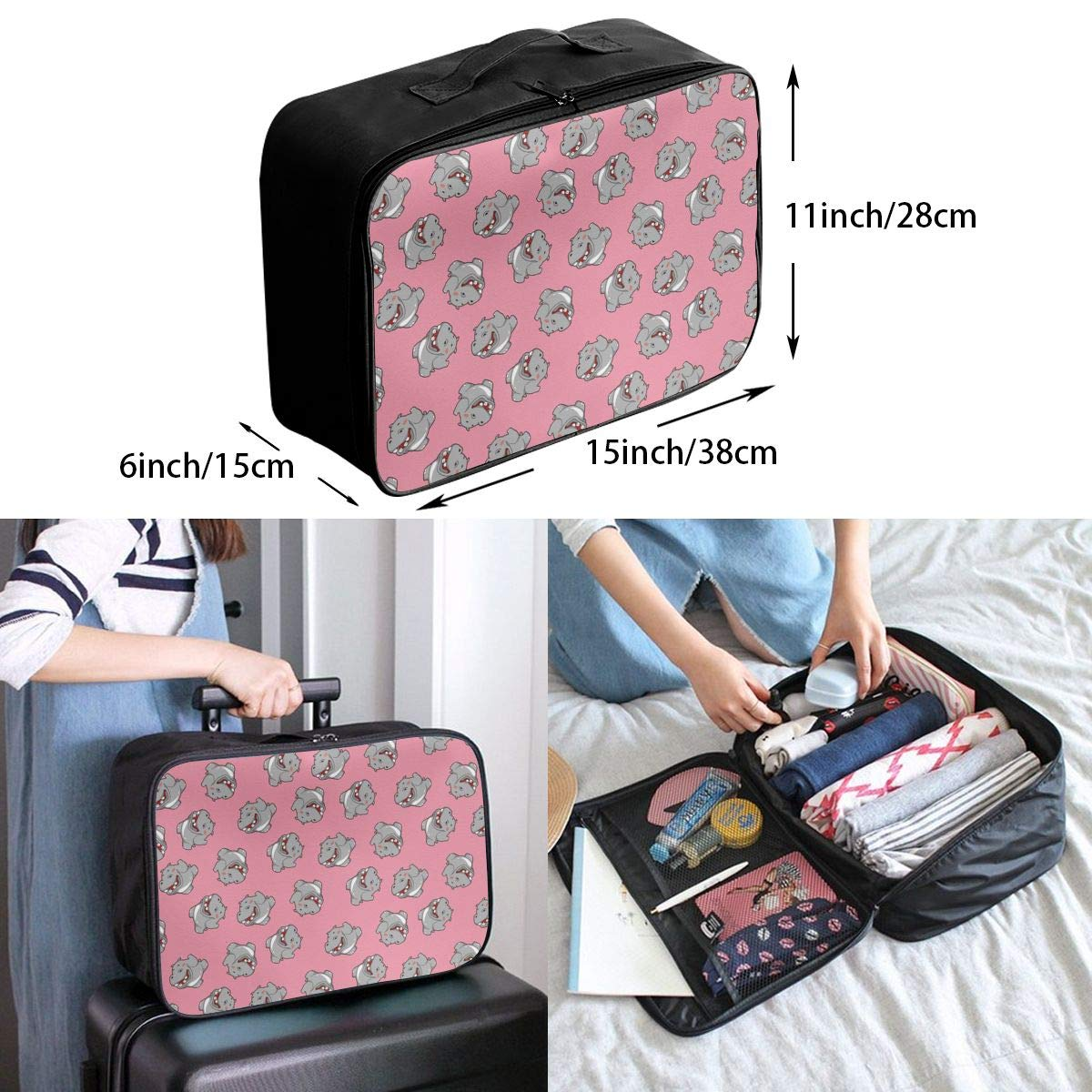 YueLJB Cute Hippo Pattern Lightweight Large Capacity Portable Luggage Bag Travel Duffel Bag Storage Carry Luggage Duffle Tote Bag