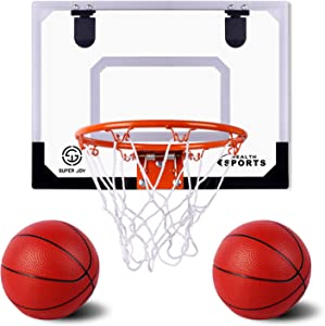 """AOKESI Pro Indoor Mini Basketball Hoop Set for Kids - 16.5"""" x 12.5"""" Basketball Hoop for Door & Wall with Complete Accessories - Basketball Toys with Balls Gifts for Boys"""