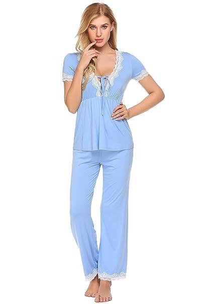 Scallop Pijamas Mujer Primavera 100% Algodón Set de agradable Tacto y Cómodo