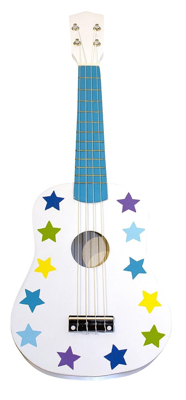 JaBaDaBaDo Kindergitarre Punkte Sterne rosa oder blau Spielgitarre Lerngitarre Gitarre Spielzeug Holz Holzspielzeug Junge Mädchen weiß (blau / weiß)