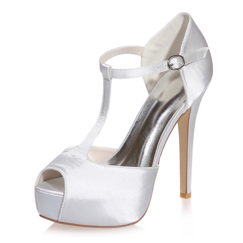 Elobaby Zapatos De Boda De La Mujer Hebilla Peep Toes Almendra Toe Platform Court Zapatos Tacones Altos/12.5 Heel Prom 39 EU|White