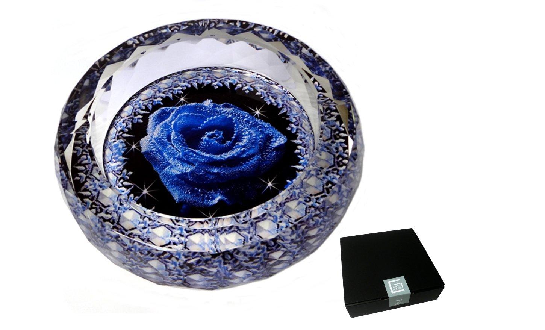 GREEM MARKET(グリームマーケット) 円形 アラウンド  灰皿 高級クリスタルガラス灰皿 薔薇 ブルー 青  品番:GMS00635-18 B077M3LLN718cm