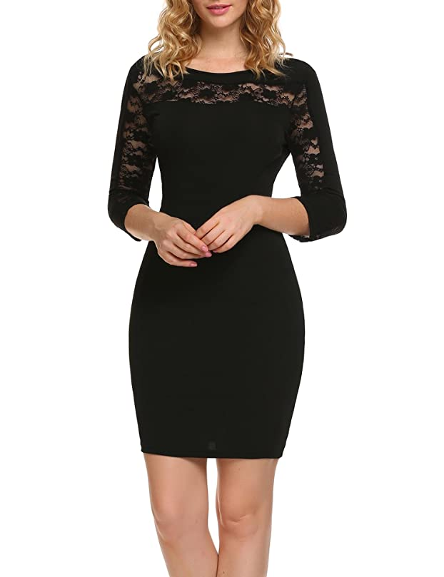 ANGVNS Women Cocktail Party Dress, Lace Patchwork Back Hollow Out 3/4 Sleeve Slim Bodycon Mini Dresses