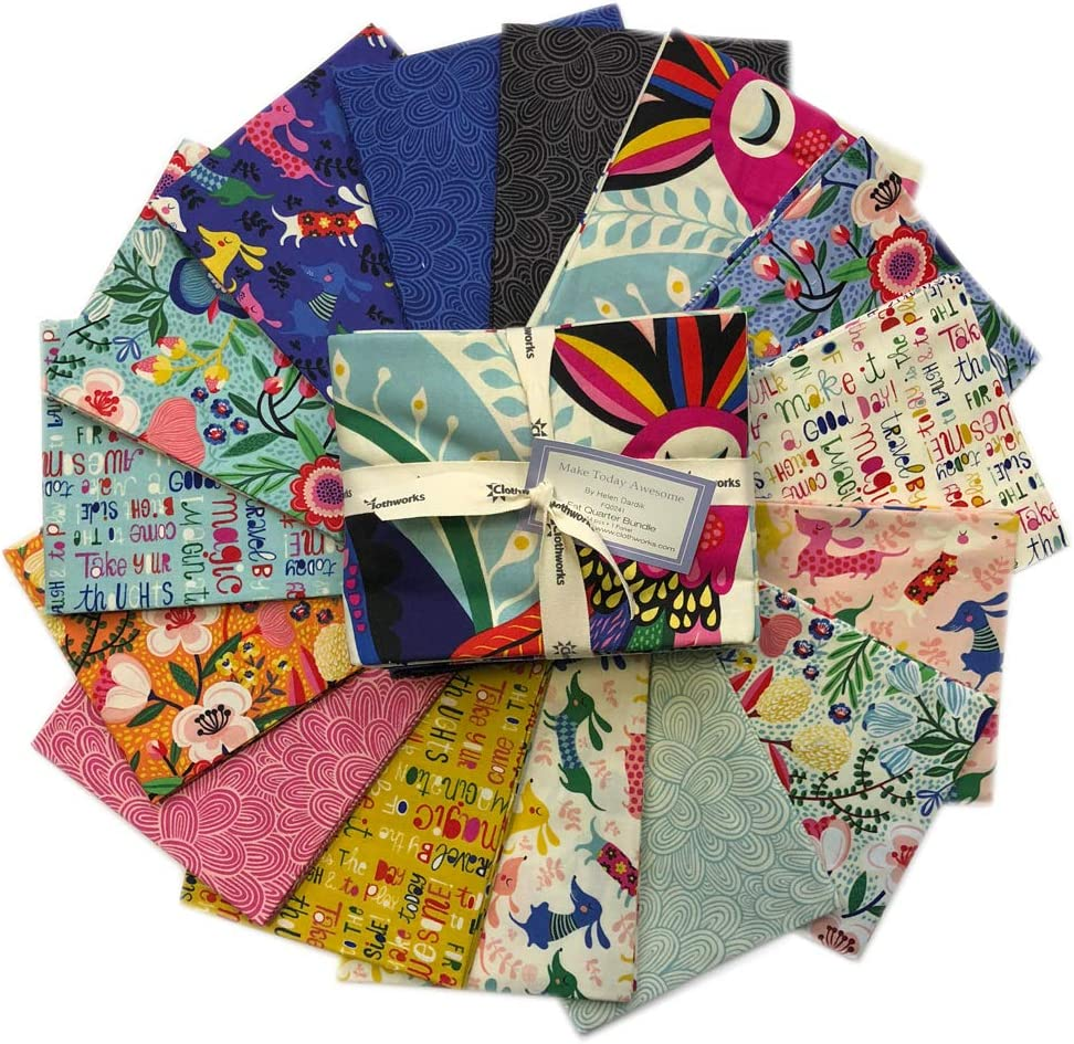 Make Today Awesome Fat Quarter バンドル 15ピース Clothworksプレカットファブリックキルティングコットン、FQ0241