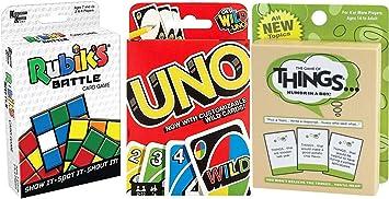 Funny Battle Things Juego Go Uno Wild Tarjetas + Rubik Cube Battle Shout & Humor en una Caja Combo Deck Fun Time Pack: Amazon.es: Juguetes y juegos