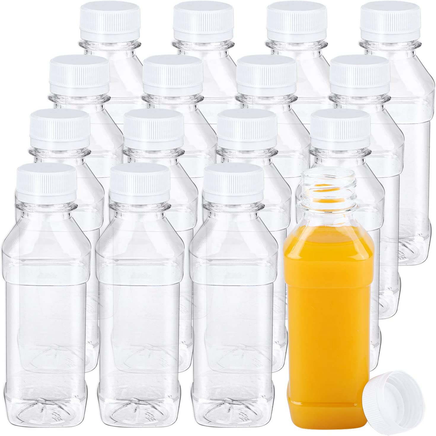 Aneco 16 Pack 4 Ounce Empty Plastic Juice Bottles with Lids Square Drink Containers for Storing Homemade Juices, Water and Other Beverages