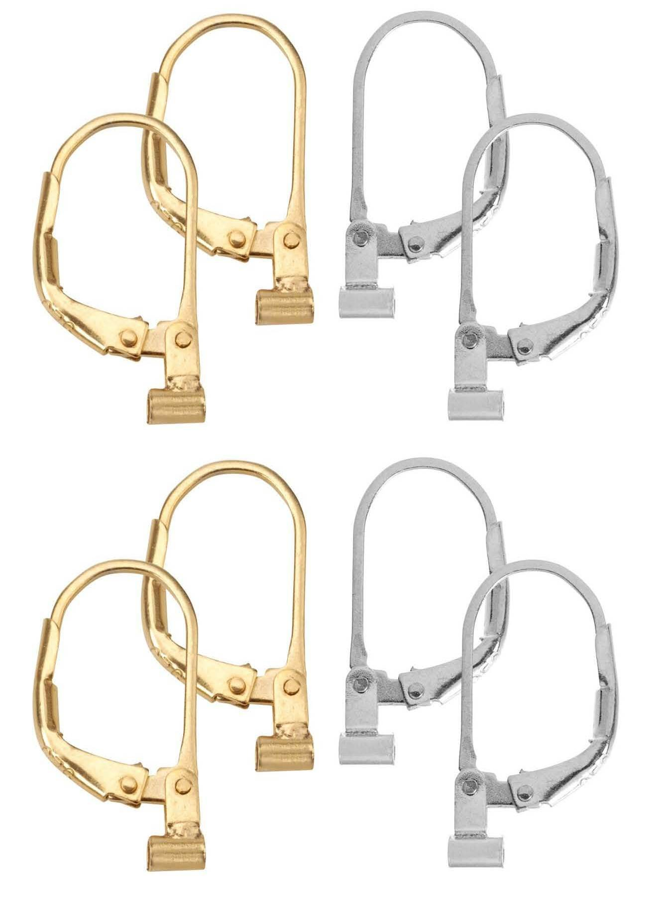 Convertiblez 4 Pair of Earring Converters Post to Lever Back Combo 2 Pair Gold 2 Pair Silver
